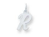 Sterling Silver Small Script Initial R Charm style: QC5080R