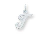 Sterling Silver Small Script Initial T Charm style: QC5080T