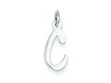 Sterling Silver Small Slanted Block Initial C Charm style: QC5081C