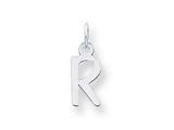 Sterling Silver Small Slanted Block Initial R Charm style: QC5081R