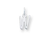 Sterling Silver Small Slanted Block Initial W Charm style: QC5081W