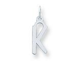 Sterling Silver Medium Slanted Block Initial K Charm style: QC5083K