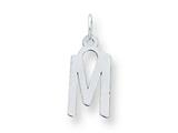 Sterling Silver Medium Slanted Block Initial M Charm style: QC5083M