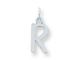 Sterling Silver Medium Slanted Block Initial R Charm style: QC5083R