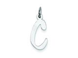 Sterling Silver Large Slanted Block Initial C Charm style: QC5085C