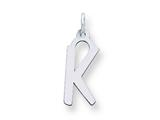 Sterling Silver Large Slanted Block Initial K Charm style: QC5085K