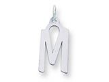 Sterling Silver Large Slanted Block Initial M Charm style: QC5085M
