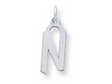 Sterling Silver Large Slanted Block Initial N Charm style: QC5085N