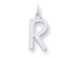 Sterling Silver Large Slanted Block Initial R Charm style: QC5085R