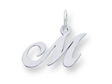 Sterling Silver Small Fancy Script Initial M Charm style: QC5086M