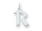 Sterling Silver Small Artisian Block Initial R Charm style: QC5087R