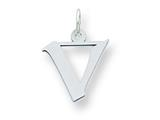 Sterling Silver Small Artisian Block Initial V Charm style: QC5087V
