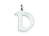 Sterling Silver Medium Artisian Block Initial D Charm style: QC5089D