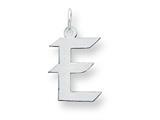 Sterling Silver Medium Artisian Block Initial E Charm style: QC5089E