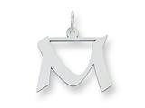 Sterling Silver Medium Artisian Block Initial M Charm style: QC5089M
