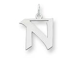 Sterling Silver Medium Artisian Block Initial N Charm style: QC5089N