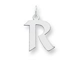 Sterling Silver Medium Artisian Block Initial R Charm style: QC5089R