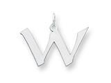 Sterling Silver Medium Artisian Block Initial W Charm style: QC5089W