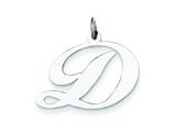 Sterling Silver Large Fancy Script Initial D Charm style: QC5090D