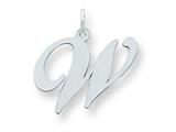 Sterling Silver Large Fancy Script Initial W Charm style: QC5090W