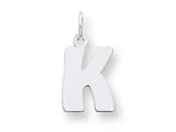 Sterling Silver Bubble Block Initial K Charm style: QC5091K