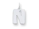 Sterling Silver Bubble Block Initial N Charm style: QC5091N
