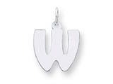 Sterling Silver Bubble Block Initial W Charm style: QC5091W