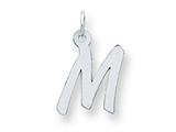Sterling Silver Medium Initial M Charm style: QC5094M
