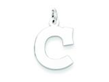 Sterling Silver Medium Block Initial C Charm style: QC5095C