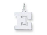 Sterling Silver Medium Block Initial E Charm style: QC5095E