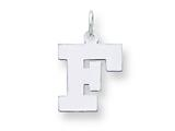 Sterling Silver Medium Block Initial F Charm style: QC5095F