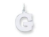 Sterling Silver Medium Block Initial G Charm style: QC5095G