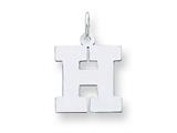 Sterling Silver Medium Block Initial H Charm style: QC5095H
