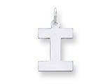 Sterling Silver Medium Block Initial I Charm style: QC5095I