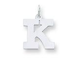 Sterling Silver Medium Block Initial K Charm style: QC5095K