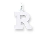 Sterling Silver Medium Block Initial R Charm style: QC5095R