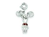 Sterling Silver Red Syn. Stone Cheerleader Charm style: QC5104