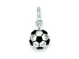 Sterling Silver Enameled Soccerball Charm style: QC5133