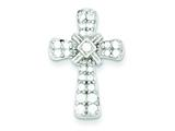Sterling Silver Cubic Zirconia Cross Pendant - Chain Included style: QC5288