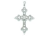 Sterling Silver Cubic Zirconia Filigree Cross Pendant - Chain Included style: QC5305
