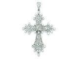 Sterling Silver Cubic Zirconia Filigree Cross Pendant - Chain Included style: QC5309