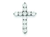 Sterling Silver Cubic Zirconia Cross Pendant - Chain Included style: QC5311