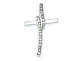 Sterling Silver Cubic Zirconia Cross Pendant - Chain Included style: QC5364