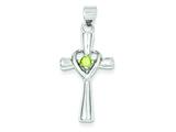 Sterling Silver Peridot Heart Cross Pendant - Chain Included style: QC5391