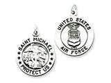 Sterling Silver Antiqued Saint Michael Air Force Medal Pendant - Chain Included style: QC5703