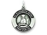 Sterling Silver Antiqued St. Elizabeth Medal Pendant - Chain Included style: QC5715