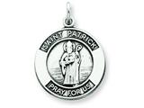 Sterling Silver Antiqued Saint Patrick Medal Pendant - Chain Included style: QC5747