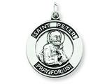 Sterling Silver Antiqued Saint Peter Medal Pendant - Chain Included style: QC5752