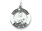 Sterling Silver Antiqued Saint Theresa Medal Pendant - Chain Included style: QC5757