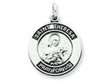 Sterling Silver Antiqued Saint Theresa Medal Pendant - Chain Included style: QC5758